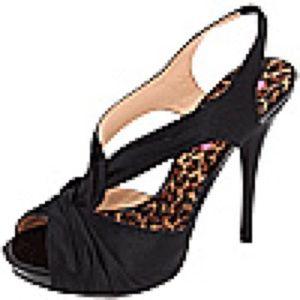 Betsey Johnson Astra Sandal Heels, Black Satin